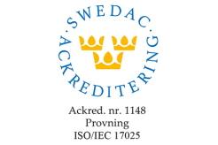 Märke som visar att SGI:s laboratorium är ackrediterat av SWEDAC