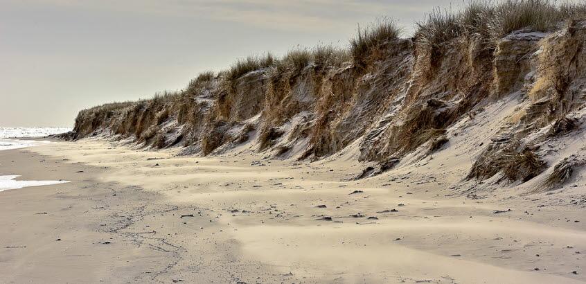 Erosion vid Sandhammaren, Skånes kust.