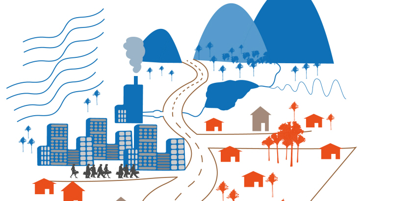 Ritad bild med enkla former av hus, vägar, berg, träd, vatten och människor i färgerna blått, brunt och orange. Illustration som kompletterad med text visar möjliga åtgärder för ett hållbart markbyggande